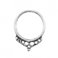 Charms TQ metal ring 26mm with crown Antique Silver