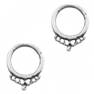 Charms TQ metal ring 18mm with crown Antique Silver