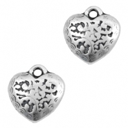 Charms TQ metal heart Baroque style Antique Silver