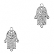 Charms TQ metal hand of Fatima Matt Antique Silver