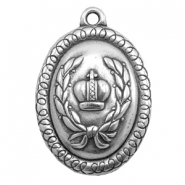Charms TQ metal oval with crown Antique Silver