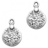 Charms TQ metal antique coin 18mm Antique Silver