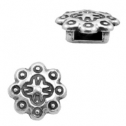 Findings TQ metal slider Ø6.4x2.7mm Mandala pattern Antique Silver