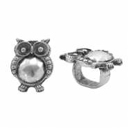 Findings TQ metal slider owl Ø10x7.7mm Antique Silver