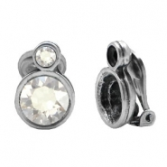 Findings TQ metal clip earrings with double setting Antique Silver