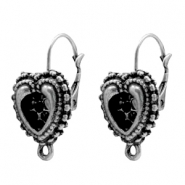 Findings TQ metal ear hook 12mm heart with loop Antique Silver