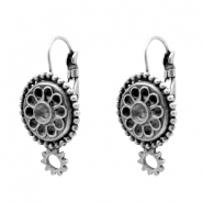 Findings TQ metal lockable ear hook round with setting for Swarovski PP32 Antique Silver