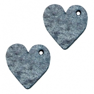 DQ leather charms heart Vintage Blue