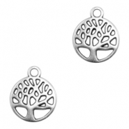 DQ metal charms round tree Antique Silver (nickel free)