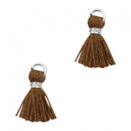 Tassels Ibiza style 1cm Silver-Chocolate Brown