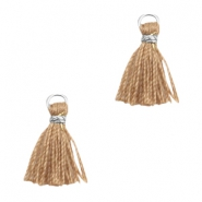 Tassels Ibiza style 1cm Silver-camel Brown