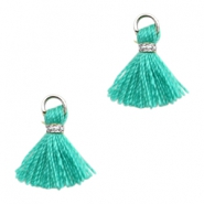 Tassels Ibiza style 1cm Silver-Turquoise Green