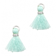 Tassels Ibiza style 1cm Silver-Crysolite Green