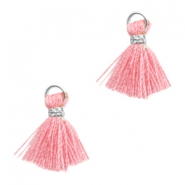 Tassels Ibiza style 1cm Silver-Rose Pink