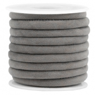 Trendy stitched velvet cord 6x4mm Grey