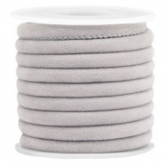 Trendy stitched velvet cord 6x4mm Light Grey