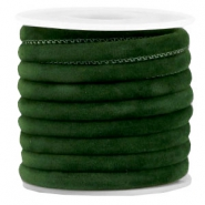 Trendy stitched velvet cord 6x4mm Dark Green