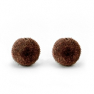 Velvet pompom beads 6mm Chocolate Brown