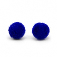 Velvet pompom beads 8mm Cobalt Blue