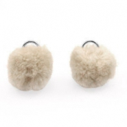Silver pompom charms with eye 15mm Beige