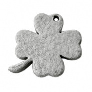 DQ leather charms clover large Graphite Grey