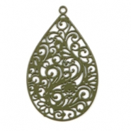 Bohemian charms drop shaped Dark Olive Green