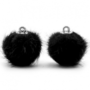 Faux fur pompom charms 16mm Black