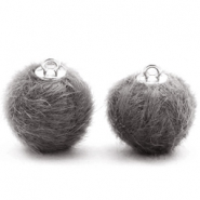 Faux fur pompom charms 16mm Dark Grey