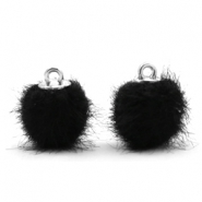 Faux fur pompom charms 12mm Black
