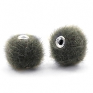 Faux fur pompom beads 12mm Sage Green