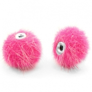 Faux fur pompom beads 10mm Magenta Pink