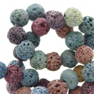 8 mm natural stone beads matt Lava Multicolour Brown-Blue