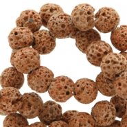 6 mm natural stone beads matt Lava Light Brown