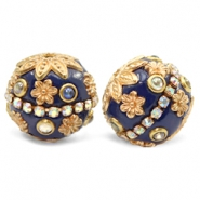 Bohemian beads 20mm Dark Blue-Gold