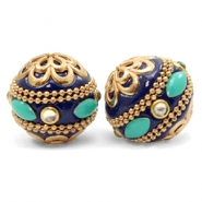 Bohemian beads 20mm Dark Blue-Gold Turquoise