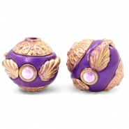 Bohemian beads 14mm Purple-Rosegold