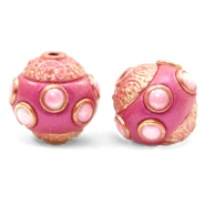 Bohemian beads 14mm Dark Pink-Rosegold