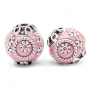 Bohemian beads 14mm Metallic Dark Pink-Silver