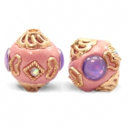 Bohemian beads 14mm Sweet Pink-Purple Gold