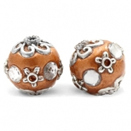 Bohemian beads 16mm CopperBrown-Silver