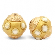 Bohemian beads 16mm Metallic Golden Coast Yellow-White Gold