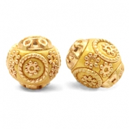 Bohemian beads 14mm Mustard Yellow-Gold