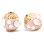 Bohemian beads 14mm Champagne Pink-Gold