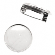 Findings metal brooch for cabochon 12 mm Antique Silver