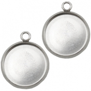Stainless steel charms setting for 12mm cabochon Silver