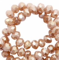 Top faceted beads 4x3mm disc Misty Rose-Amber