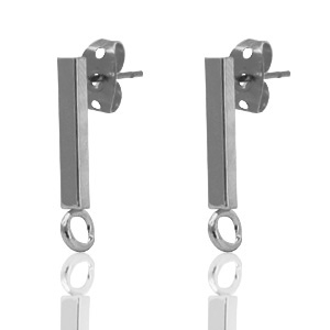DQ European metal findings earpin bar 14x2mm Silver Anthracite (nickel free)