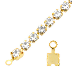Findings TQ metal end cap for Rhinestone chain Gold