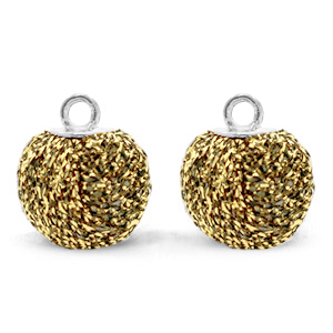 Pompom charms with loop glitter 12mm Rich Gold-Silver