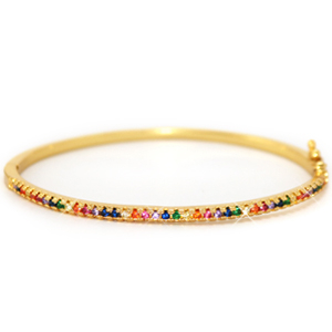 Zirconia rainbow bangle bracelet Gold